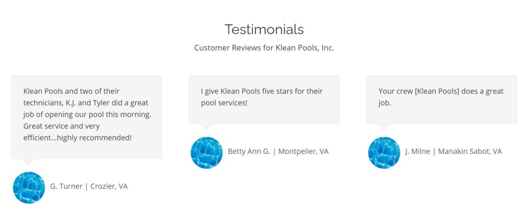 Klean Pools testimonials